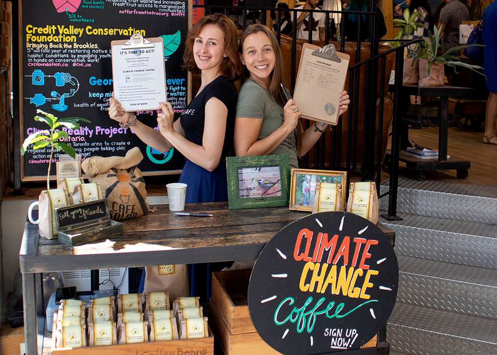 First climate change coffee sign up.