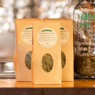 Canadian herbal tea, local, organic, evergreen tree tip tea.