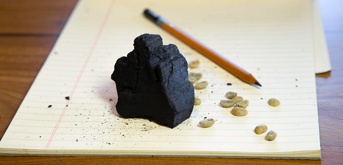 Feature image of a piece of charcoal and a graphite pencil representing carbon, alongside green coffee beans.