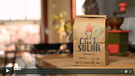 Feature image of our first commercial to help promote our flagship restorative coffees: Cafe Solar green coffee & affiliated roasted blend; Climate Change Coffee.