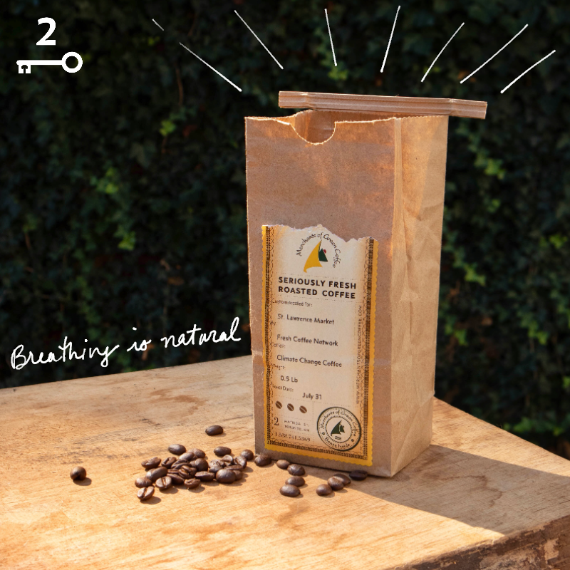 "Roasted coffee beans in a kraft coffee bag that is sitting open on a table, and the text overlay reads, ""Breathing is Natural!"""