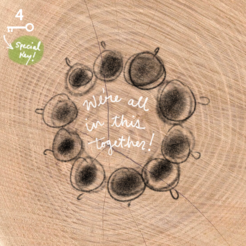 "A graphic depicting hand-drawn cups of coffee in a circle (showing unity), and the text overlay reads ""We're all in this together!"""