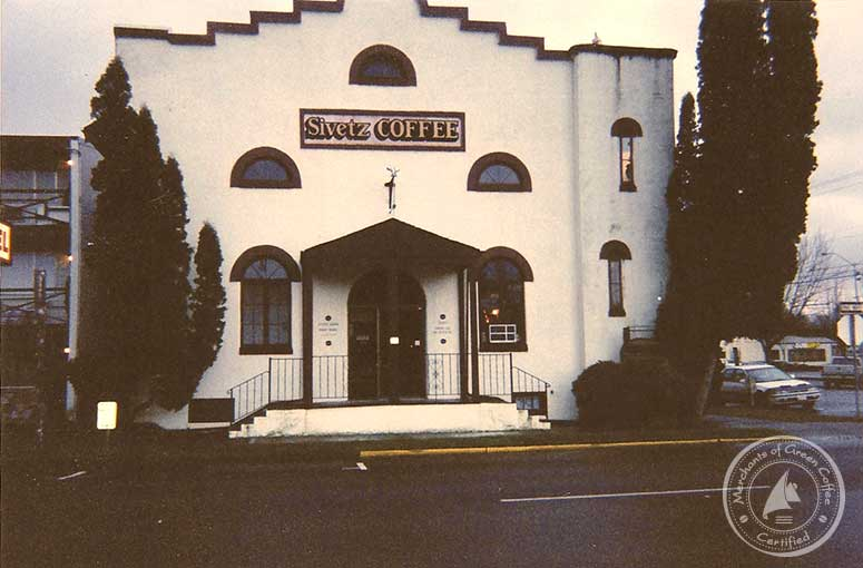 Photo of the front of Sivetz's famous Coffee church in Corvalis, Oregon.