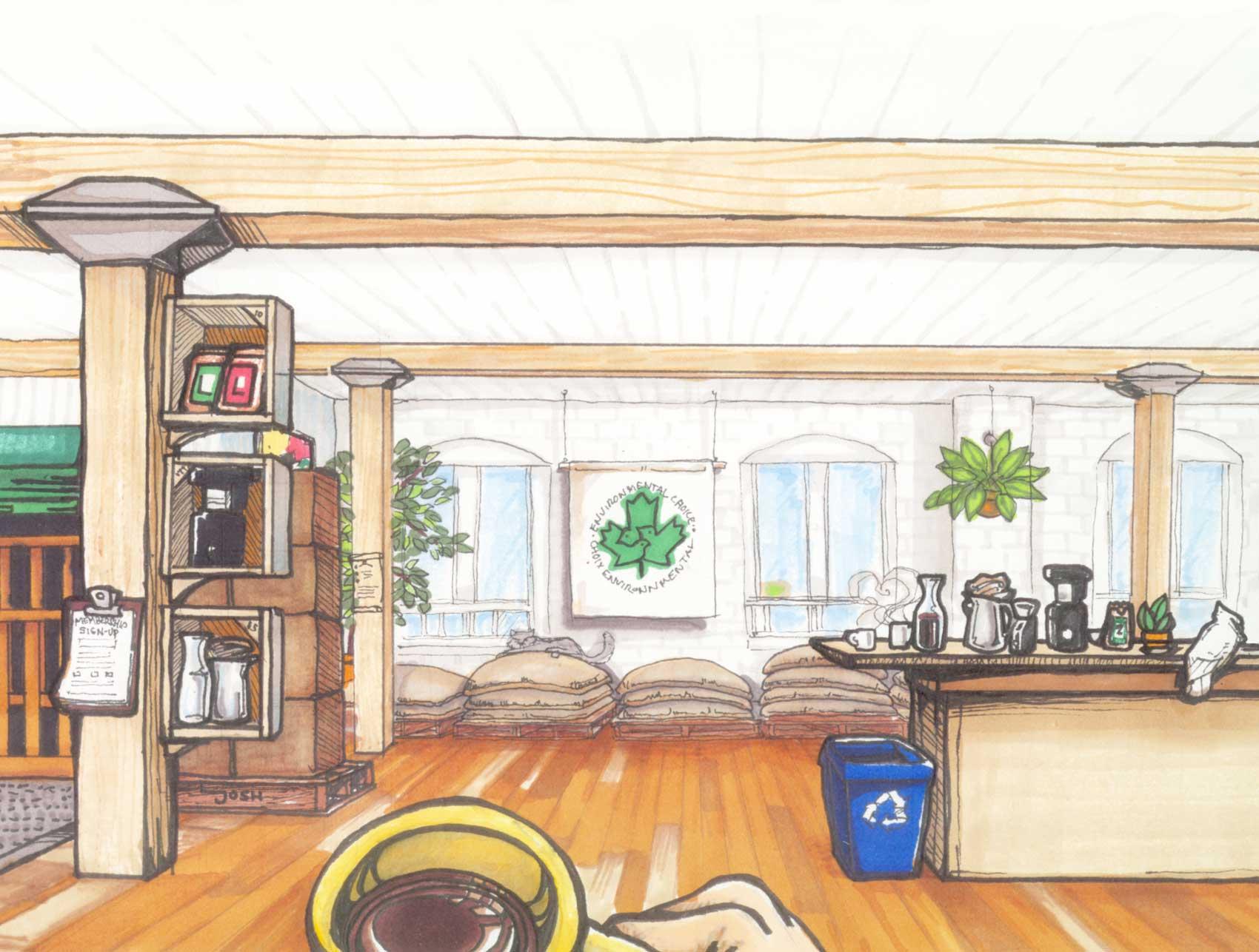 Merchants of Green Coffee HQ. Original artwork by Josh Sinclair.