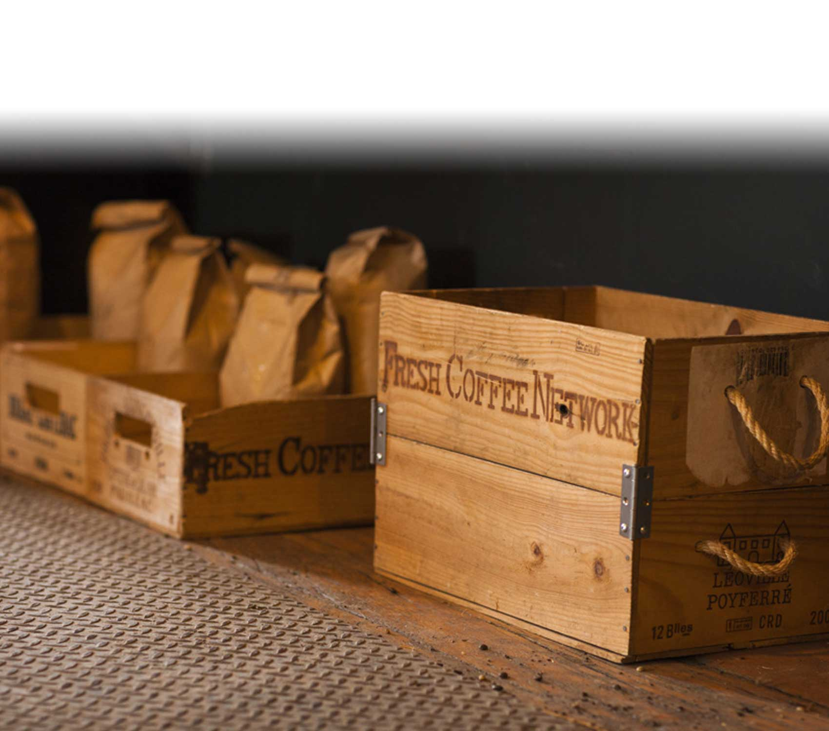 Fresh Roasted coffee wooden crates by Fresh Coffee Network.